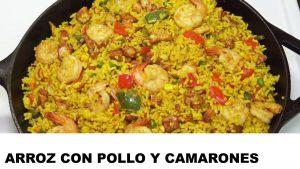 cómo cocinar arroz con pollo y camarones