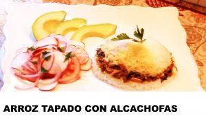 receta de arroz tapado con alcachofas