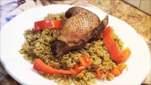 fotografía de arroz con pato