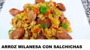 receta arroz a la milanesa con salchichas