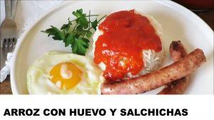 receta arroz con huevo y salchichas