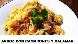 receta arroz con camarones y calamares