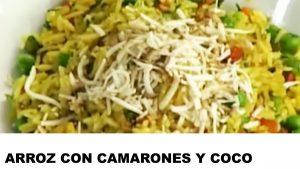 receta de arroz con camarones y coco