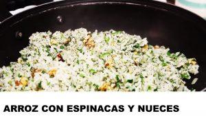 receta de arroz con espinacas y nueces