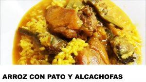 receta arroz con pato y alcachofas