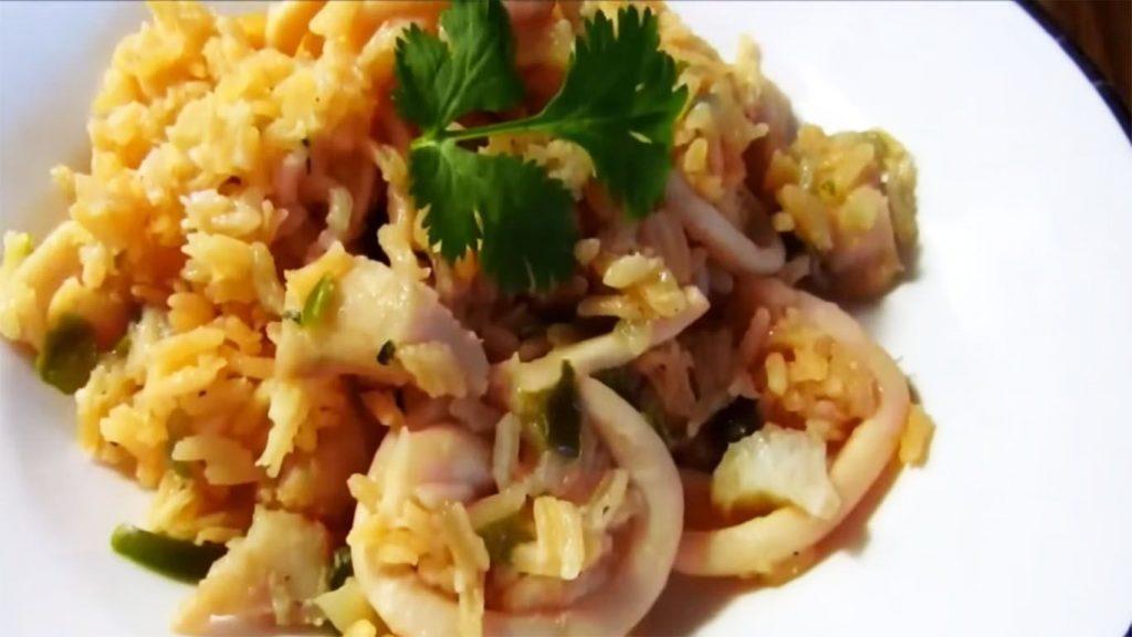 receta de arroz con camarones y calamares