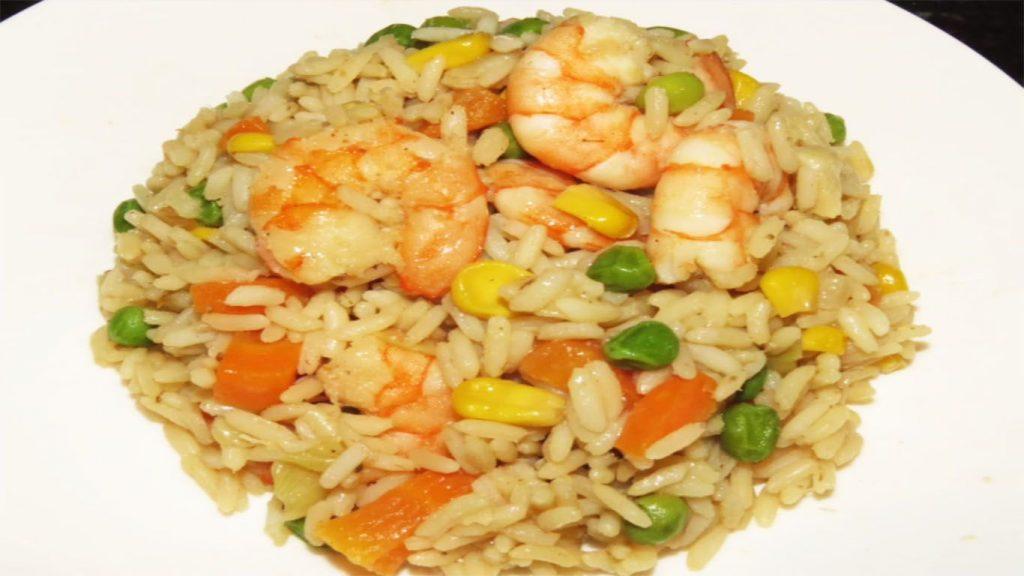 receta de arroz con camarones y verduras