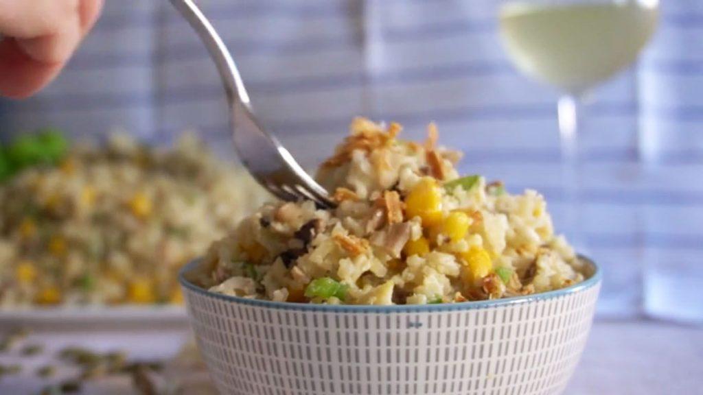 receta de arroz de coliflor con huevo