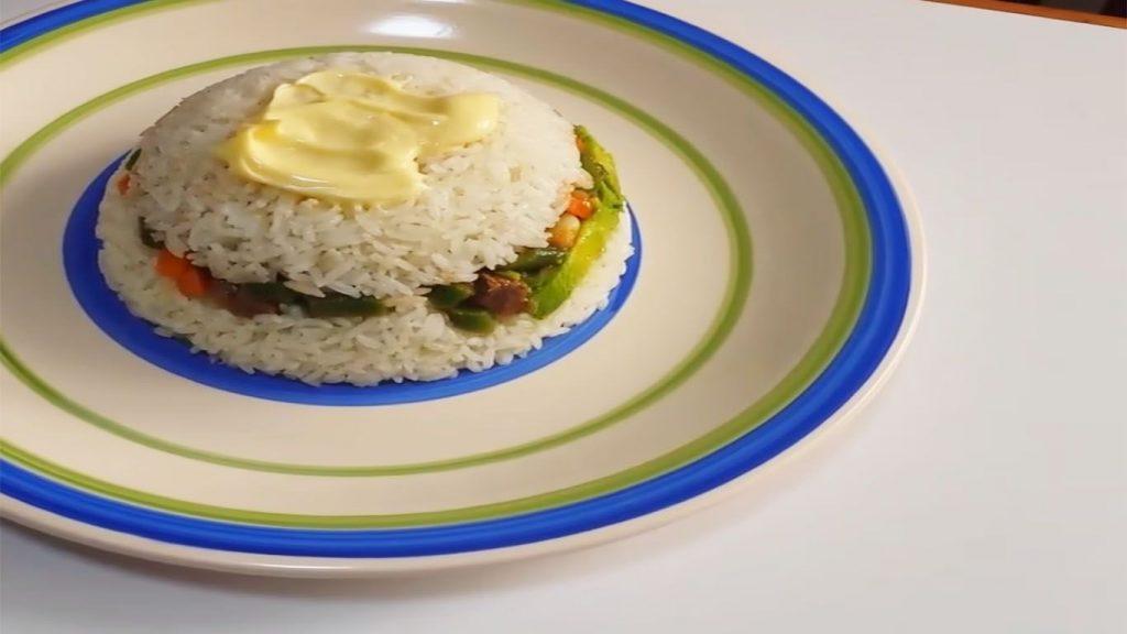 arroz tapado con verduras