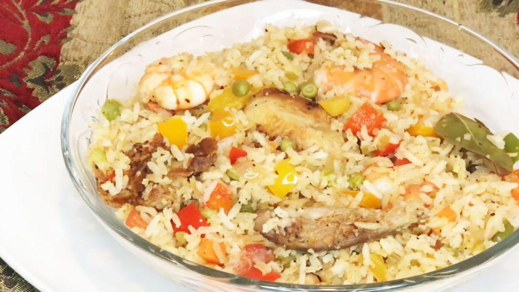 receta de arroz con camarones y pollo