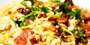 imagen de arroz árabe con tocino