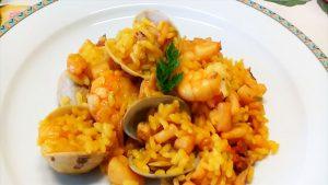 imagen de arroz con camarones y almendras
